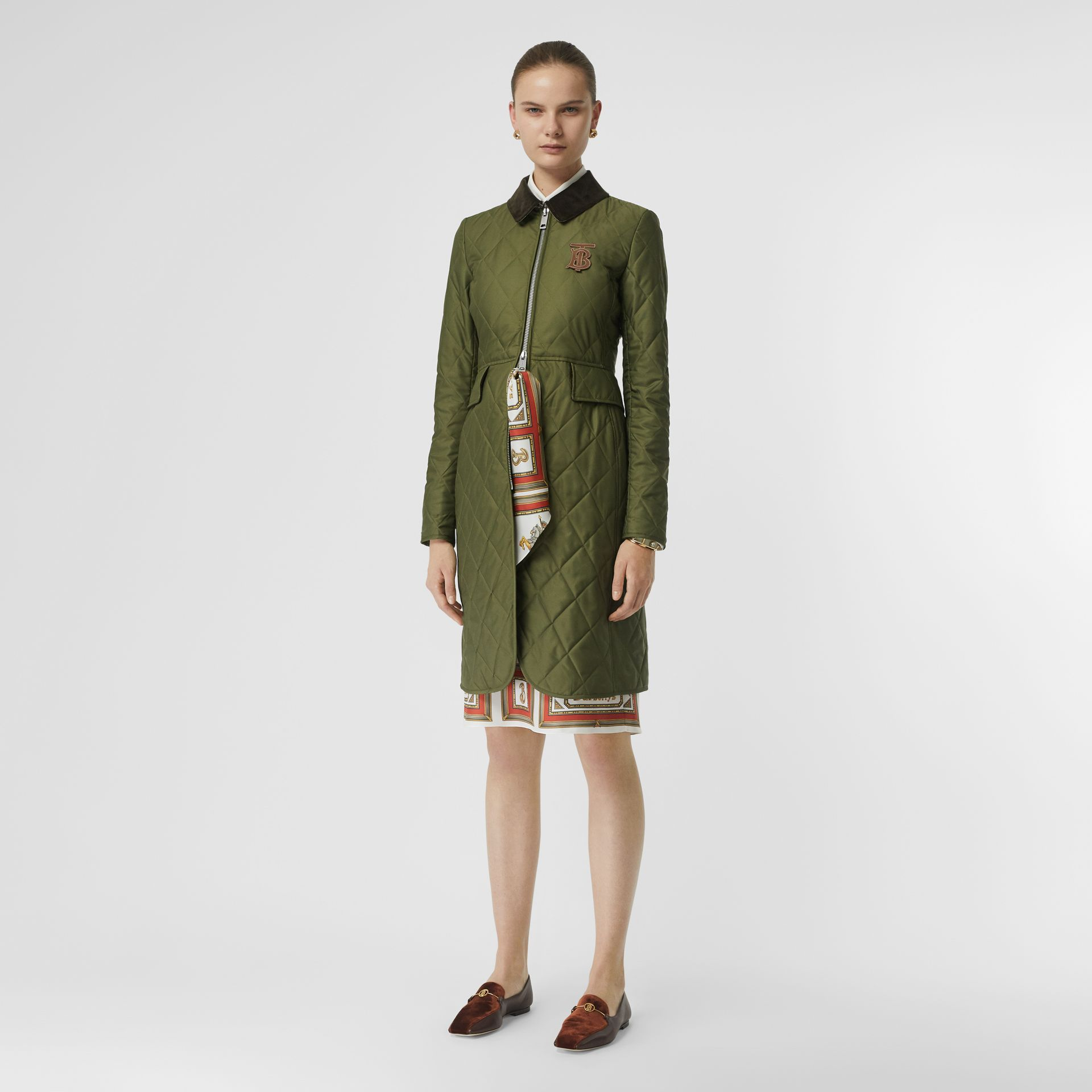 Monogram Motif Quilted Riding Coat in Utility Green - Women | Burberry - gallery image 0