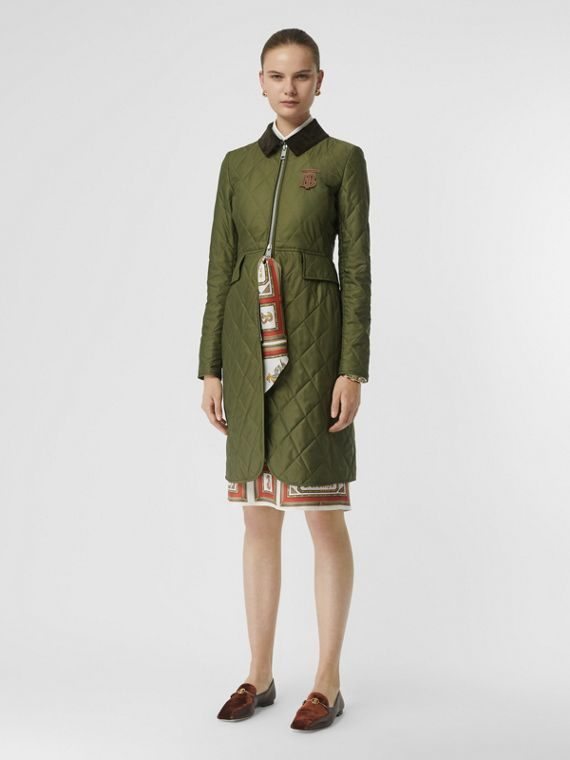 Monogram Motif Quilted Riding Coat in Utility Green