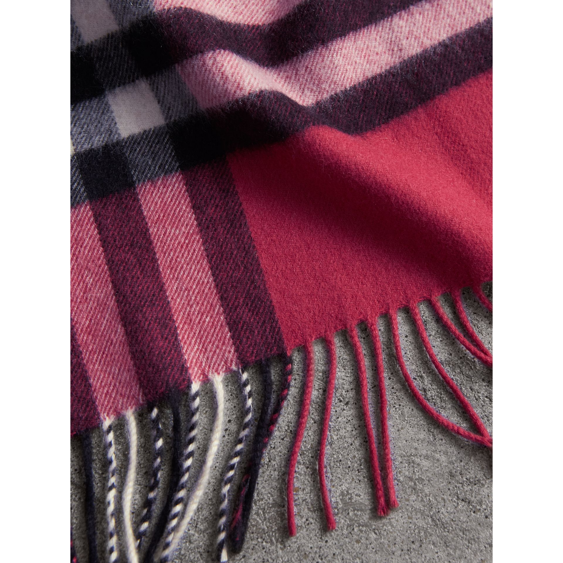 The Classic Check Cashmere Scarf in Fuchsia Pink | Burberry United Kingdom - gallery image 4