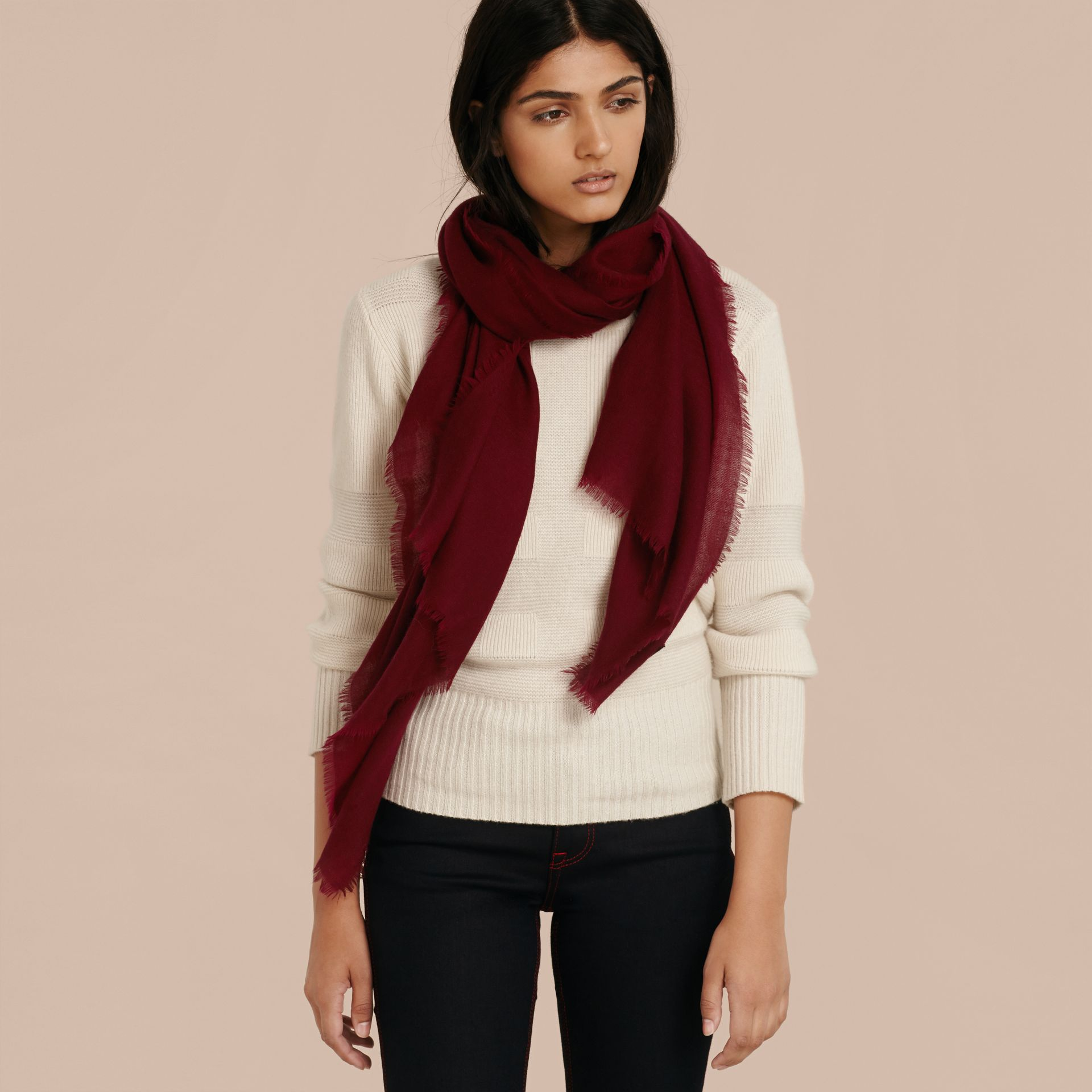The Lightweight Cashmere Scarf in Plum - gallery image 3