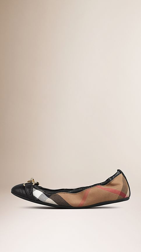 Black Buckle Detail House Check Ballerinas - Image 2