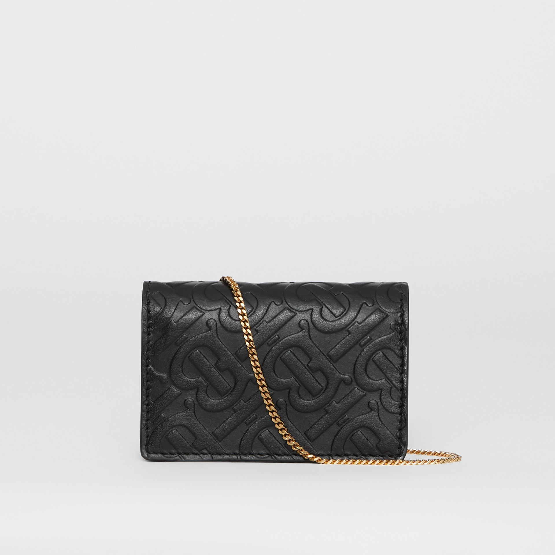 Monogram Leather Card Case with Detachable Strap in Black - Women | Burberry United Kingdom - gallery image 7