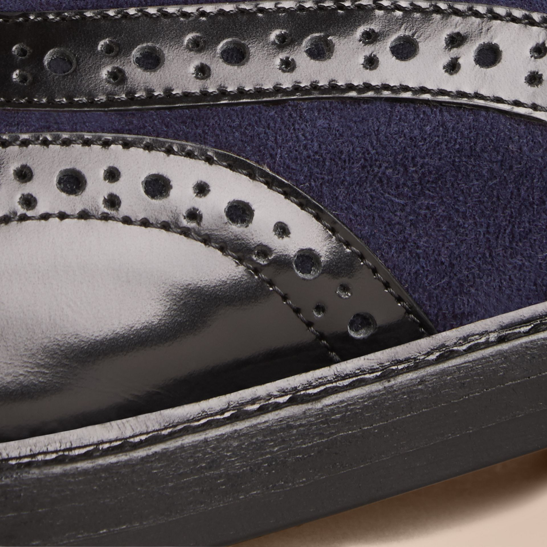 Leather and Suede Wingtip Brogues in Navy - Women | Burberry United States - gallery image 1