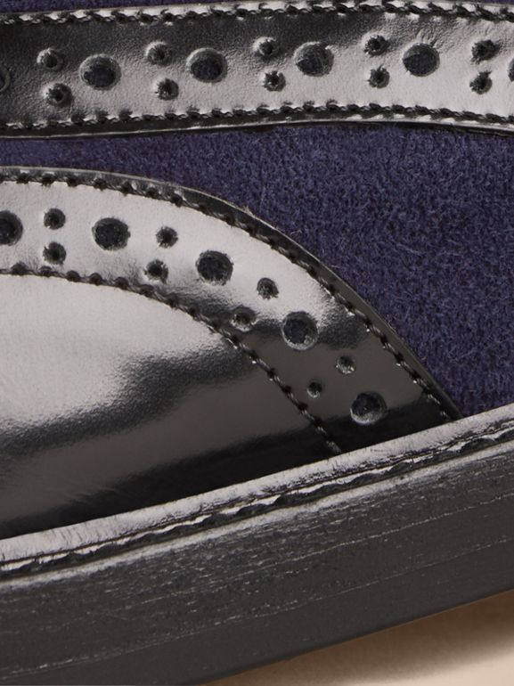 Leather and Suede Wingtip Brogues in Navy - Women | Burberry United States - cell image 1
