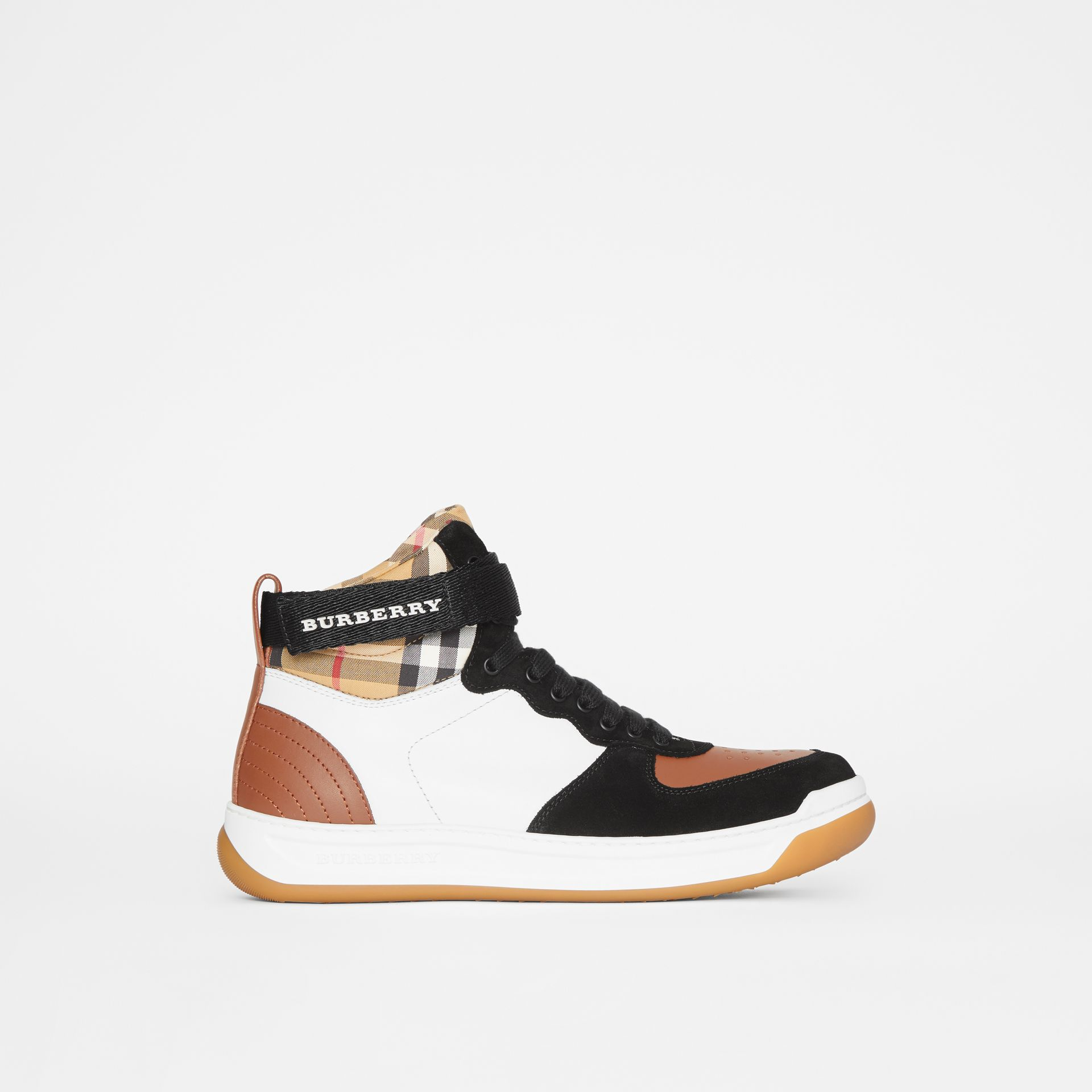 Leather and Suede High-top Sneakers in Camel - Women | Burberry - gallery image 5