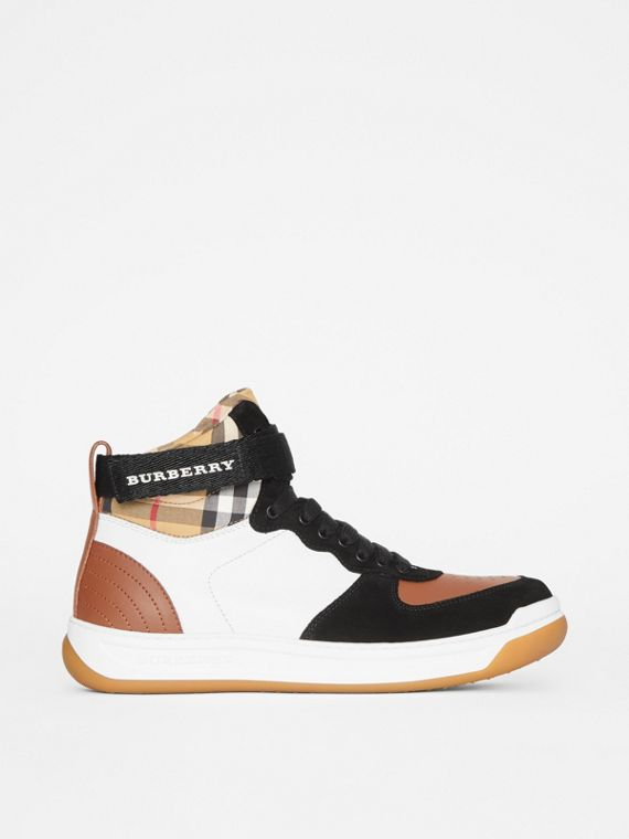 Leather and Suede High-top Sneakers in Camel