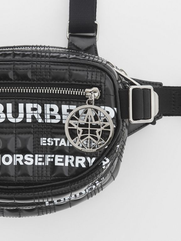 Horseferry Print Coated Canvas Cannon Belt Pack in Black | Burberry Australia - cell image 1