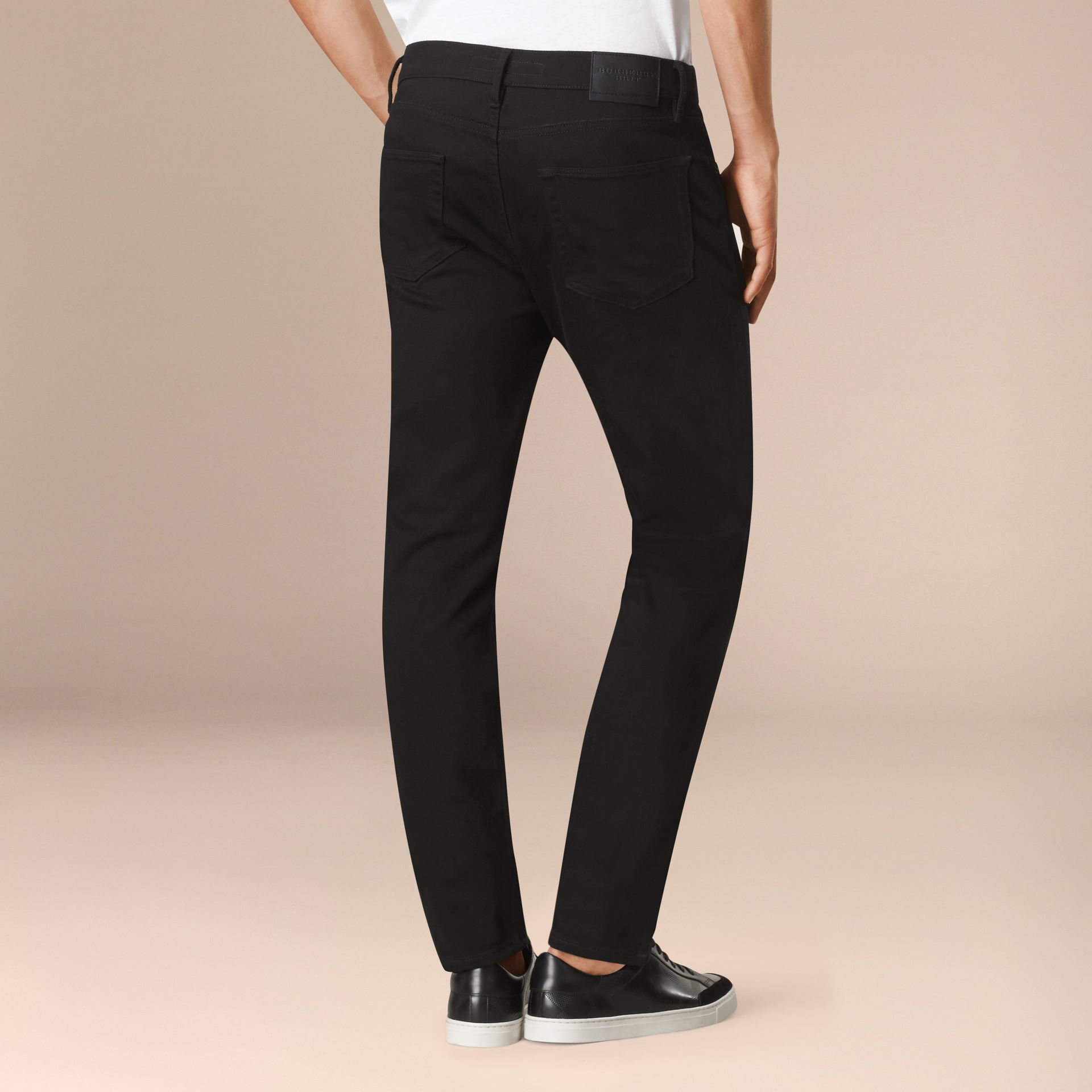 Black Slim Fit Stretch-denim Jeans - gallery image 3