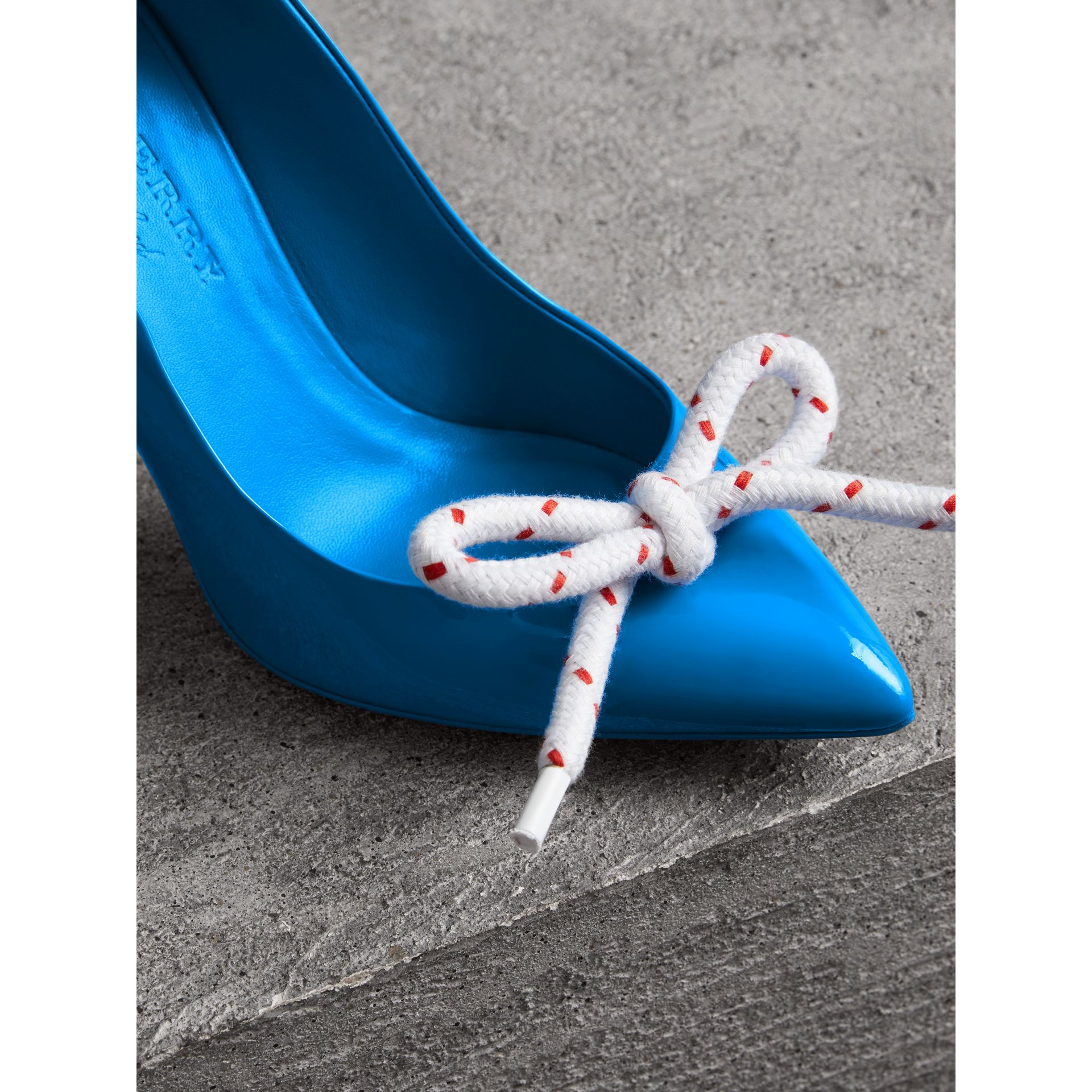 The Patent Leather Rope Stiletto in Blue Azure - Women | Burberry Canada - gallery image 1