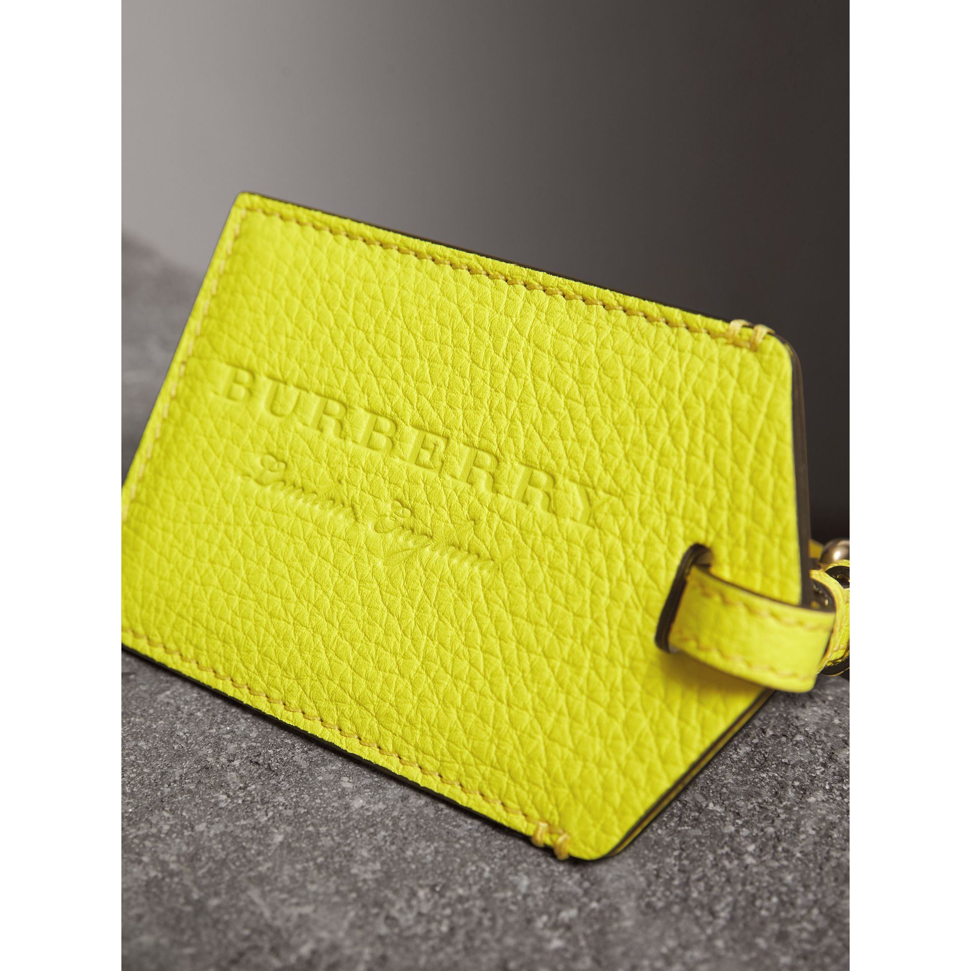 Embossed Leather Luggage Tag in Bright Yellow | Burberry - gallery image 2