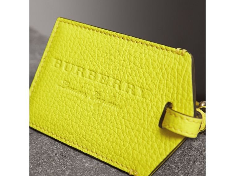 Embossed Leather Luggage Tag in Bright Yellow | Burberry Singapore - cell image 1