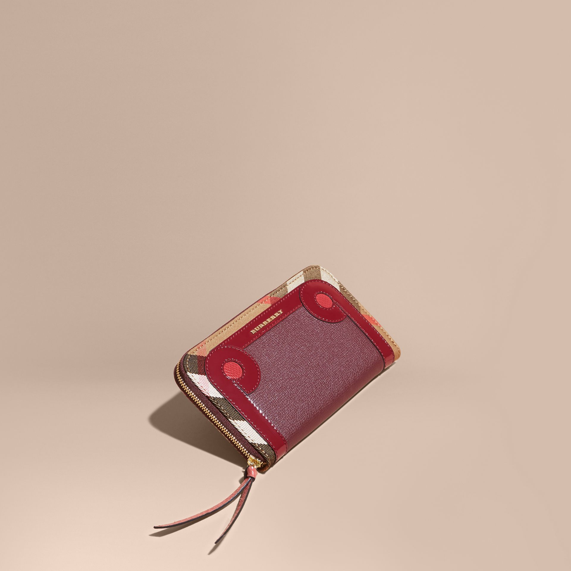 Mahogany red Snakeskin and House Check Ziparound Wallet Mahogany Red - gallery image 1