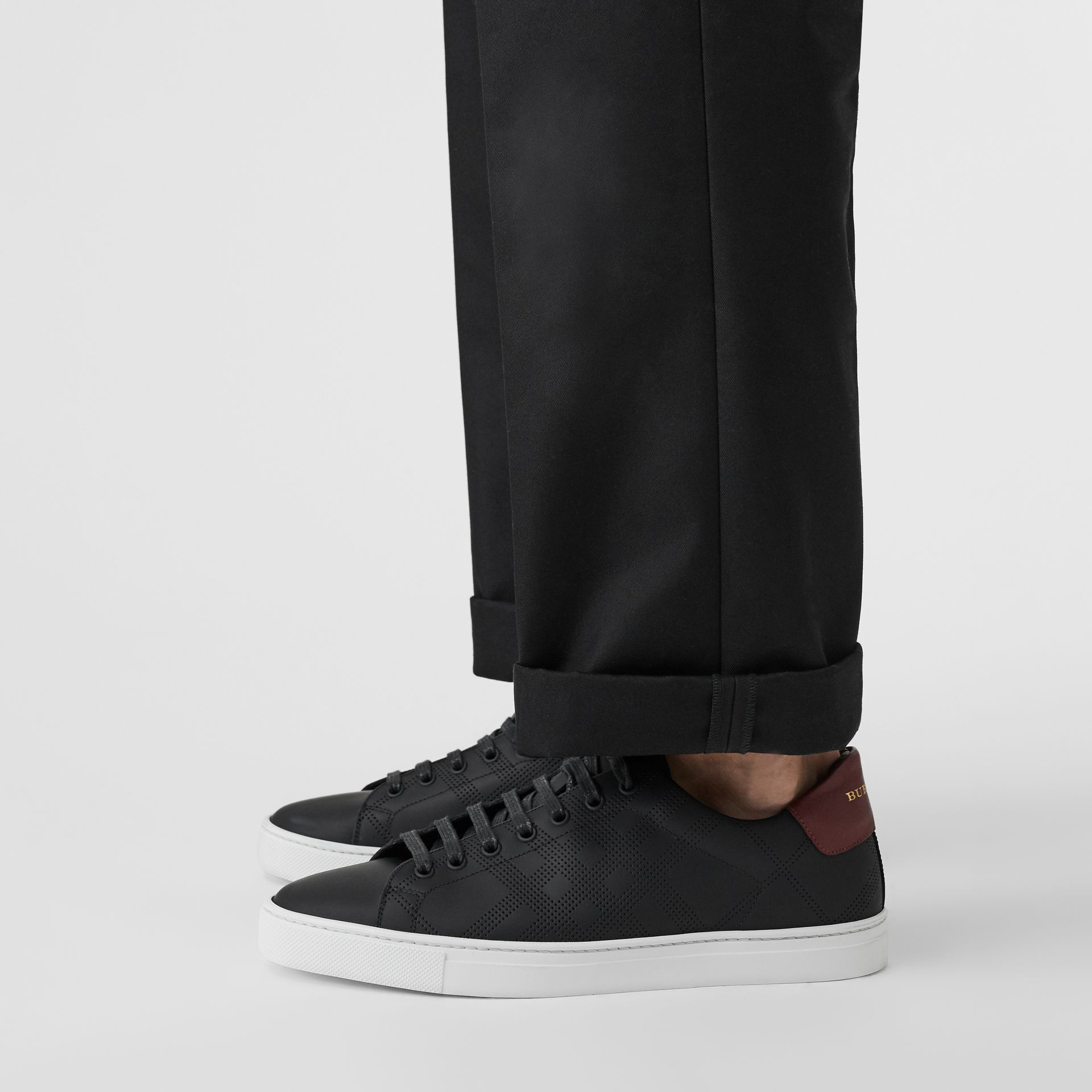 Perforated Check Leather Sneakers in Black - Men | Burberry United States - gallery image 2