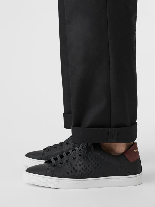Perforated Check Leather Sneakers in Black - Men | Burberry United States - cell image 2