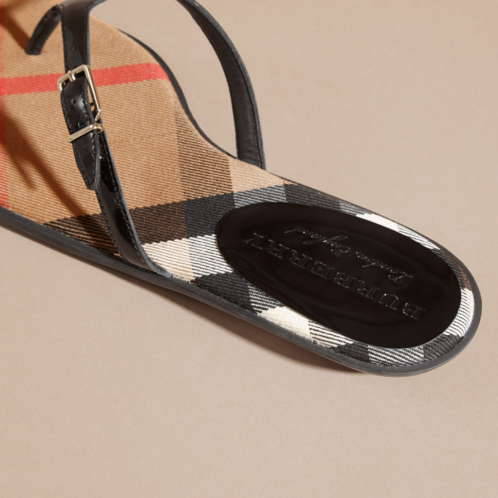 House Check and Patent Leather Sandals in Black - Women | Burberry - gallery image 4