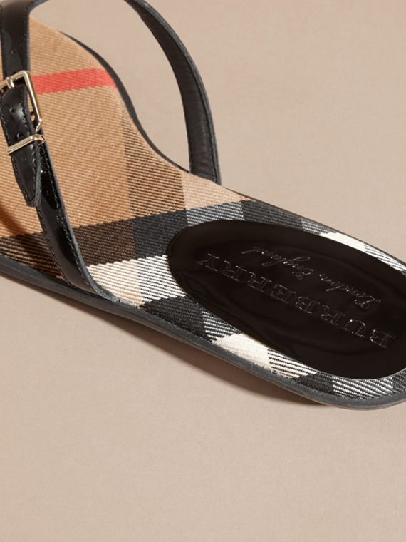 House Check and Patent Leather Sandals in Black - Women | Burberry - cell image 3