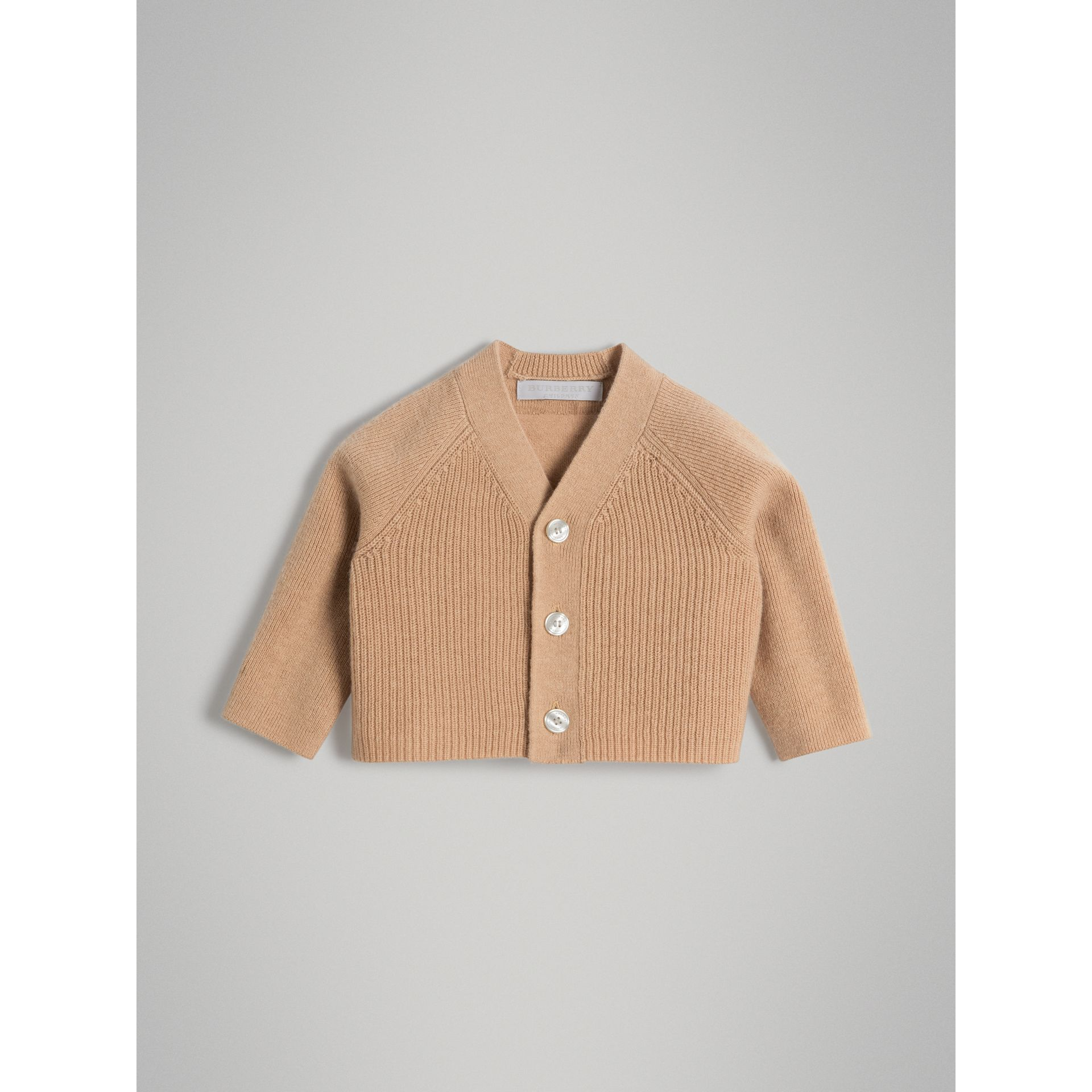 Cashmere Cotton Knit Cardigan in Peach | Burberry - gallery image 0