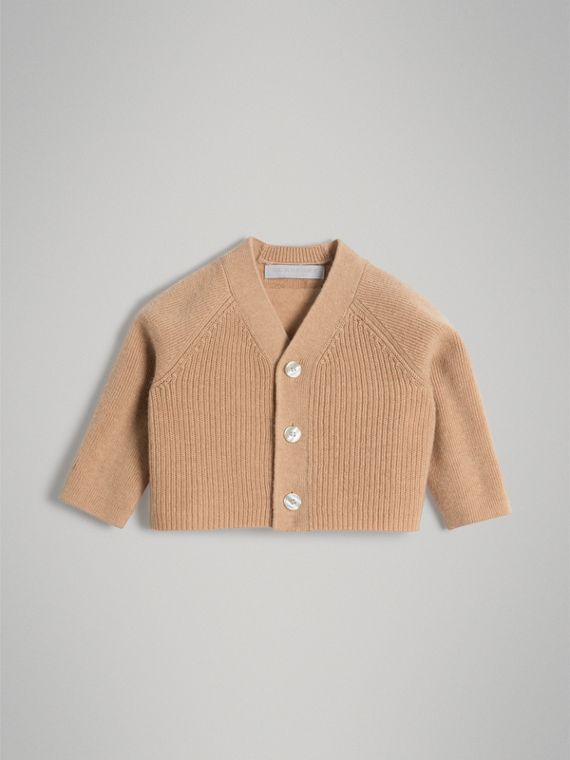 Cashmere Cotton Knit Cardigan in Peach