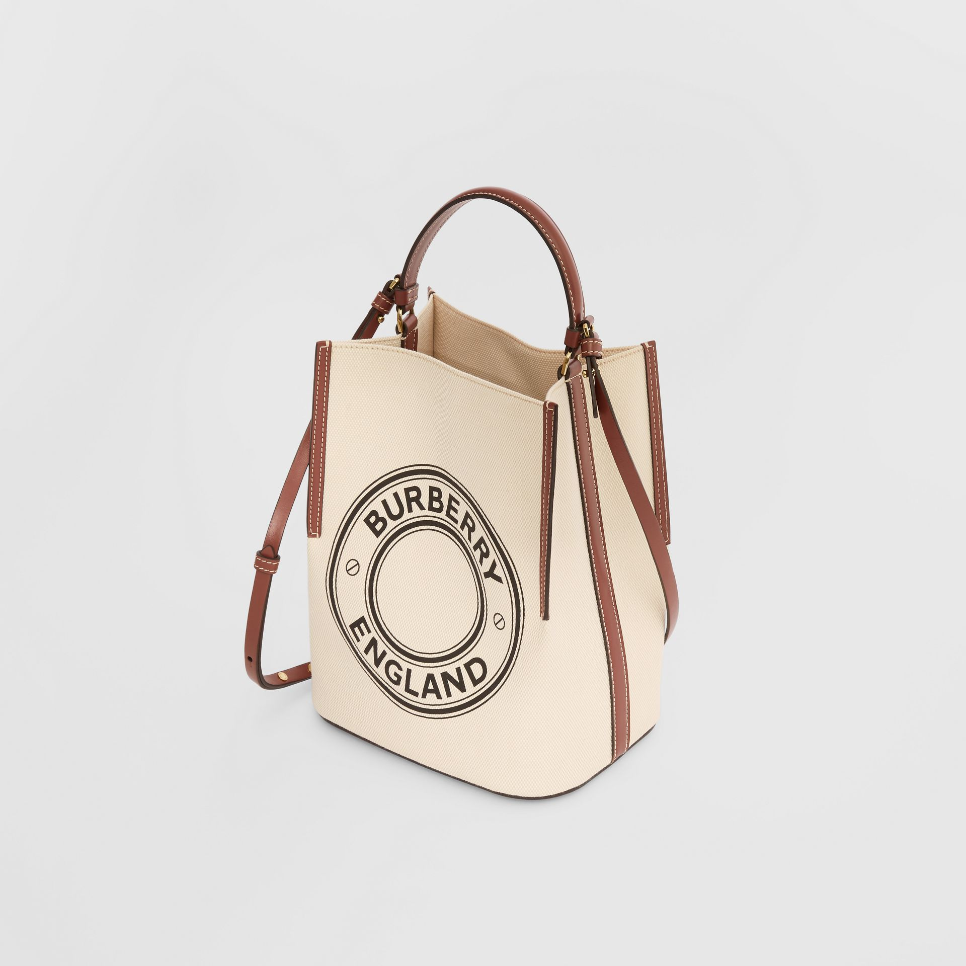 Small Logo Graphic Cotton Canvas Peggy Bucket Bag in Natural - Women | Burberry - gallery image 3