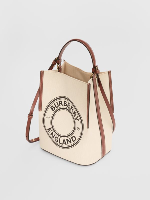 Small Logo Graphic Cotton Canvas Peggy Bucket Bag in Natural - Women | Burberry - cell image 3