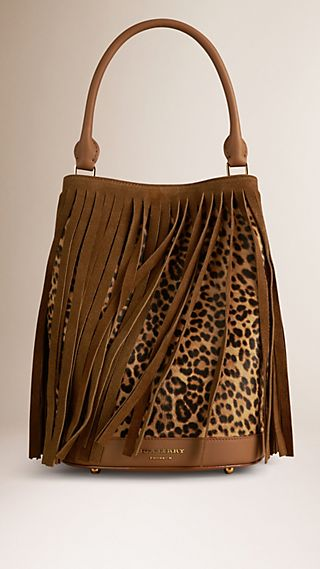 The Bucket Bag in Animal Print Shearling And Fringing