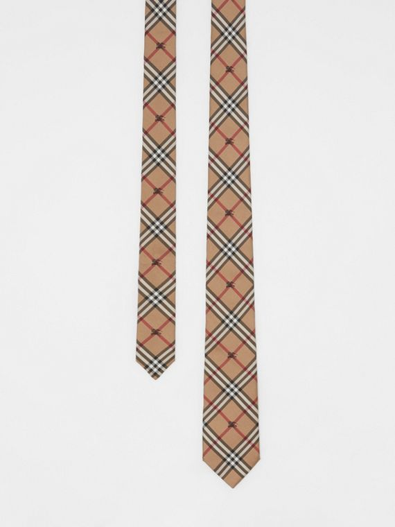 Slim Cut Equestrian Knight Check Silk Tie in Camel