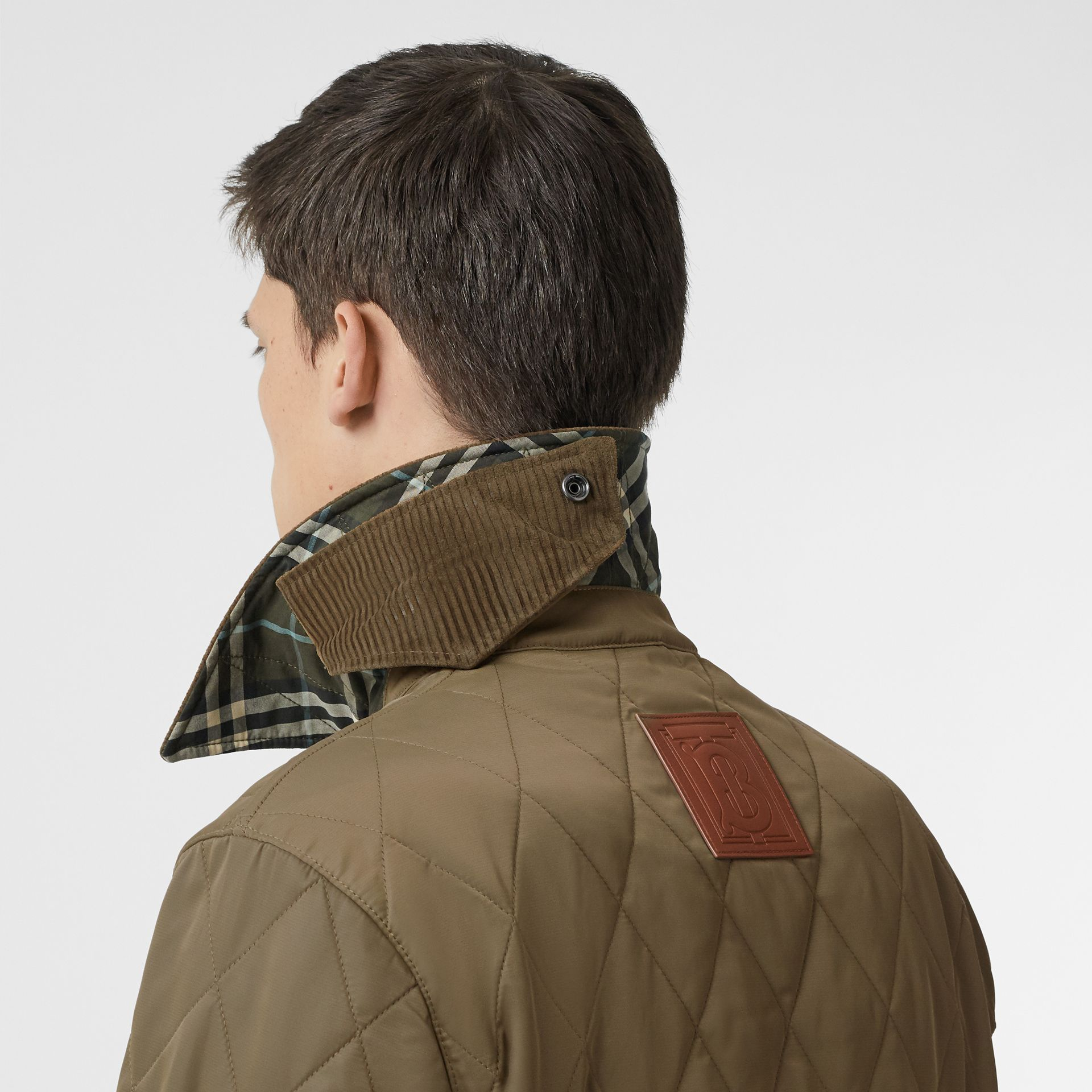Diamond Quilted Thermoregulated Barn Jacket in Dark Olive - Men | Burberry Australia - gallery image 1