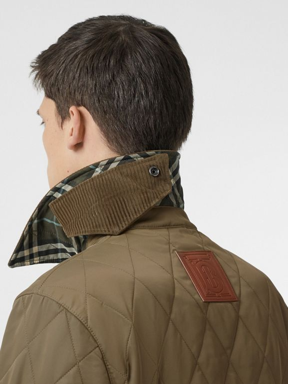 Diamond Quilted Thermoregulated Barn Jacket in Dark Olive - Men | Burberry Canada - cell image 1