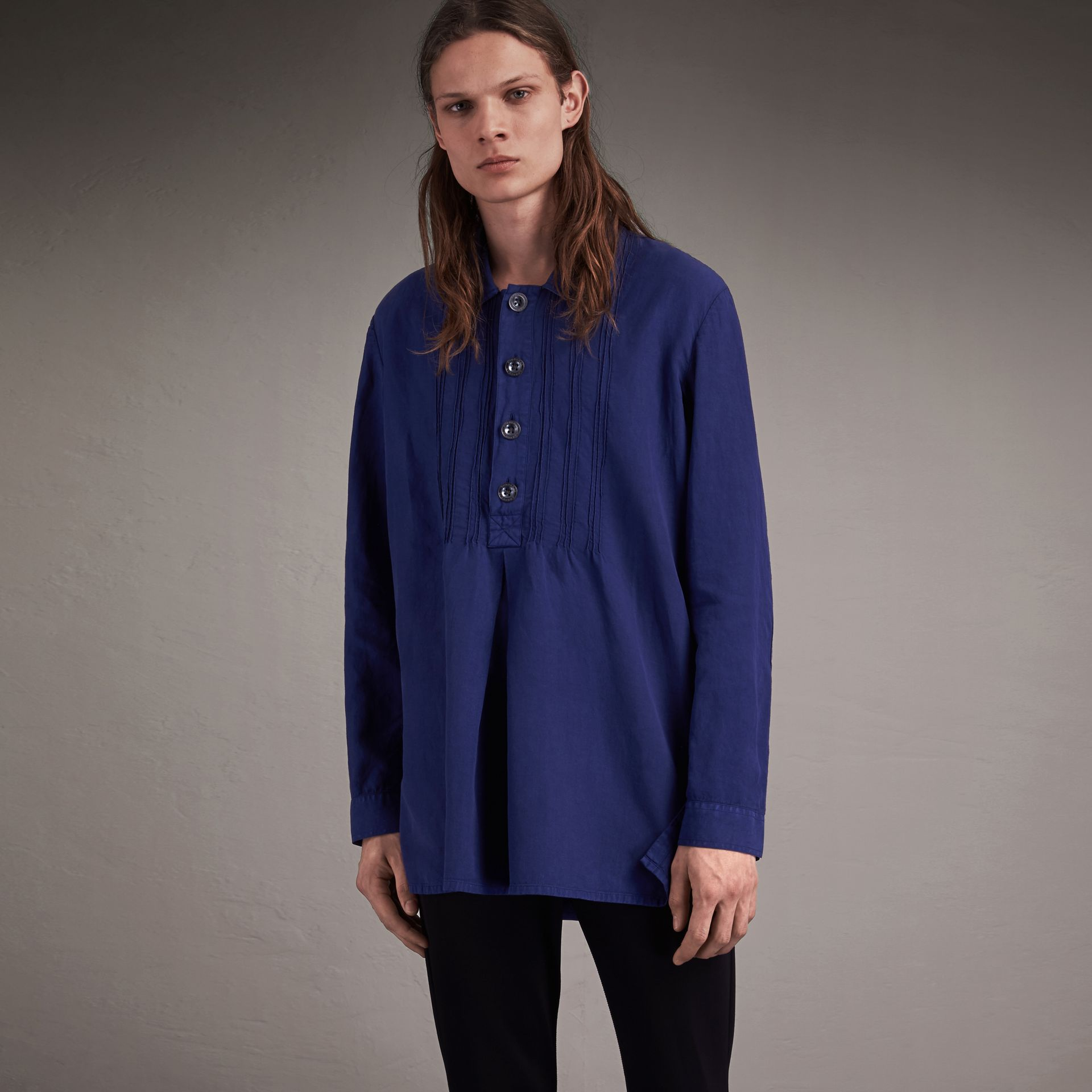 Lyocell Linen Cotton Smock Shirt in Dark Blue - Men | Burberry - gallery image 1