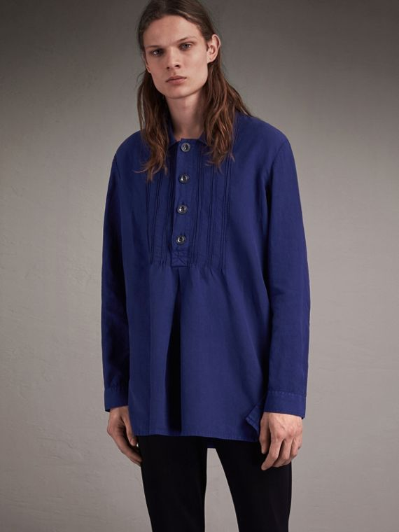 Lyocell Linen Cotton Garment-dyed Smock Shirt with Pintucks