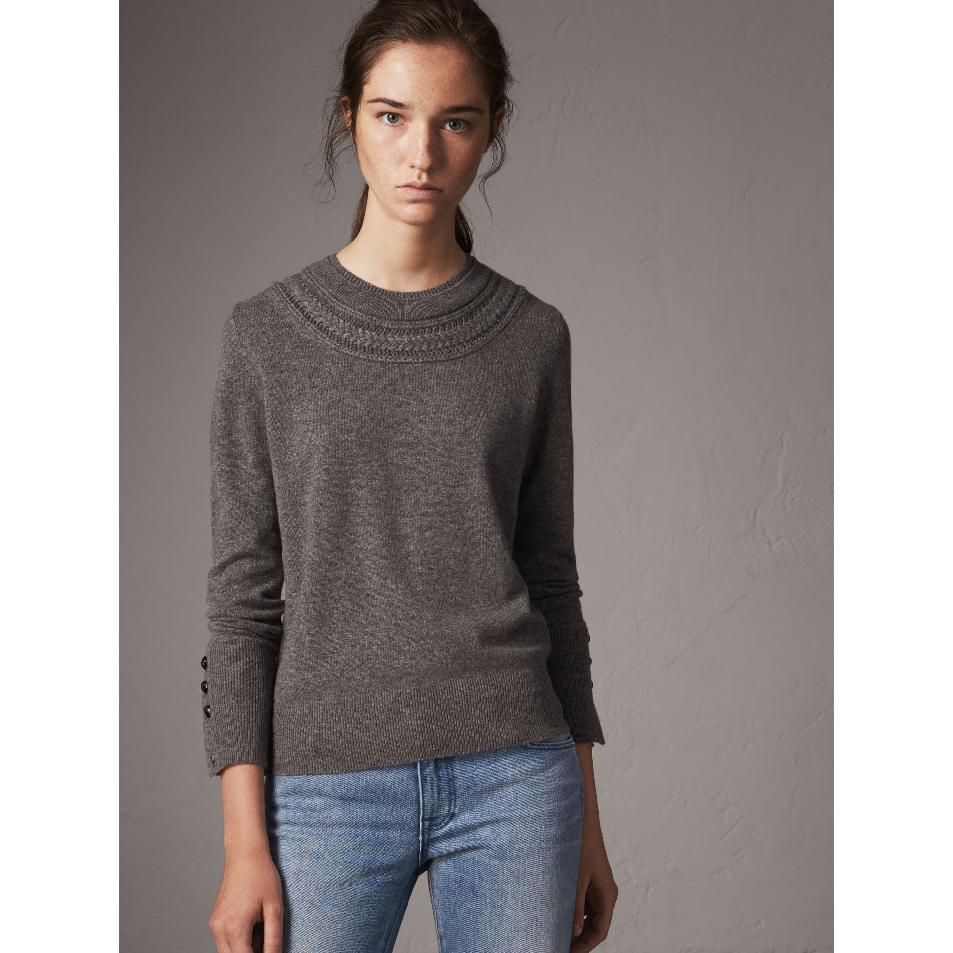 Cable Knit Yoke Cashmere Sweater in Mid Grey Melange - Women | Burberry - gallery image 1