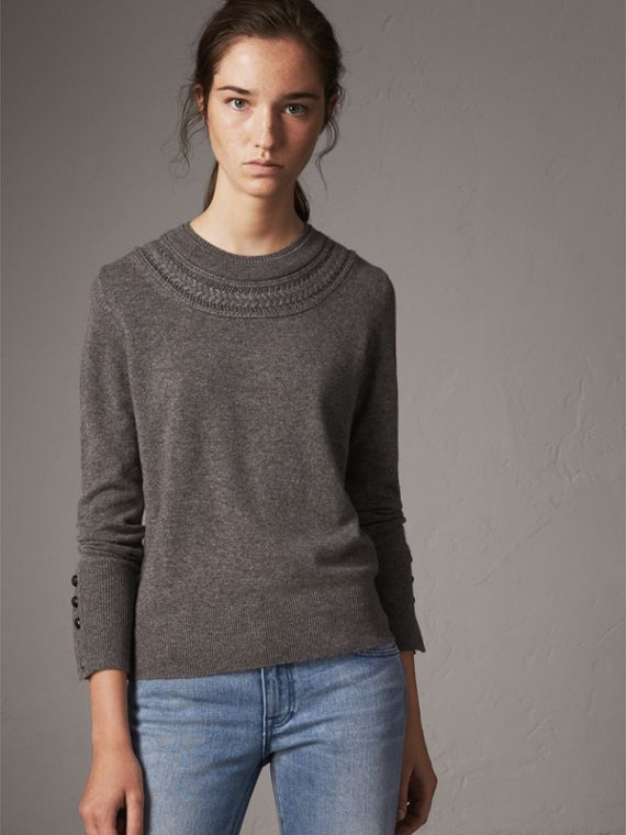 Cable Knit Yoke Cashmere Sweater in Mid Grey Melange
