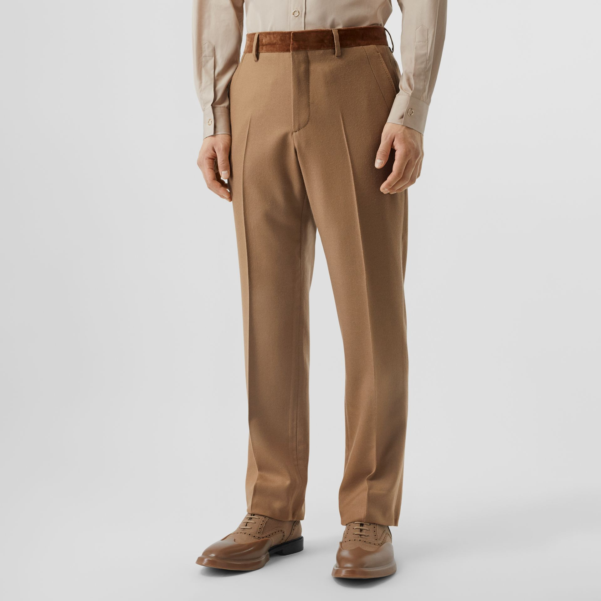 Wool Flannel Tailored Trousers in Warm Camel - Men | Burberry - gallery image 4