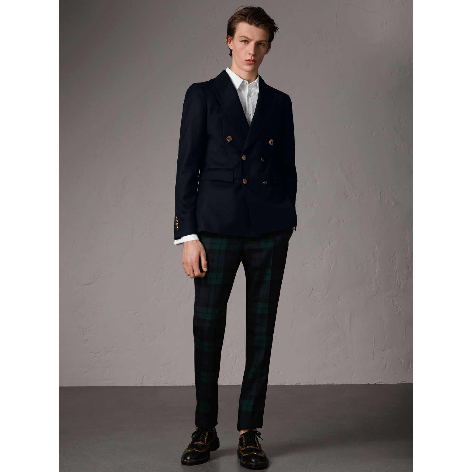 Slim Fit Wool Tailored Jacket with Bird Buttons in Navy - Men | Burberry - gallery image 7