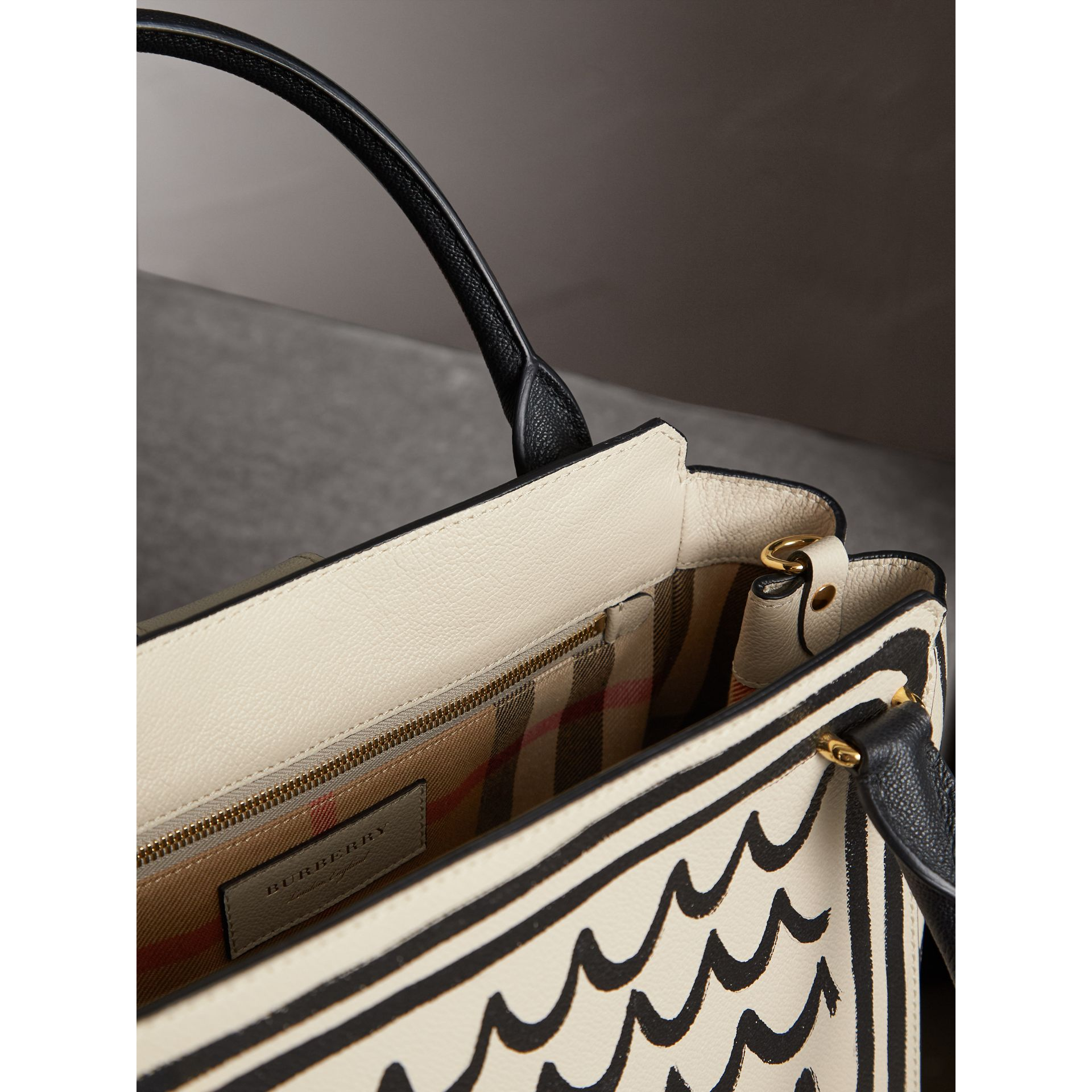 The Medium Buckle Tote in Trompe L'oeil Print Leather in Limestone - Women | Burberry Singapore - gallery image 6