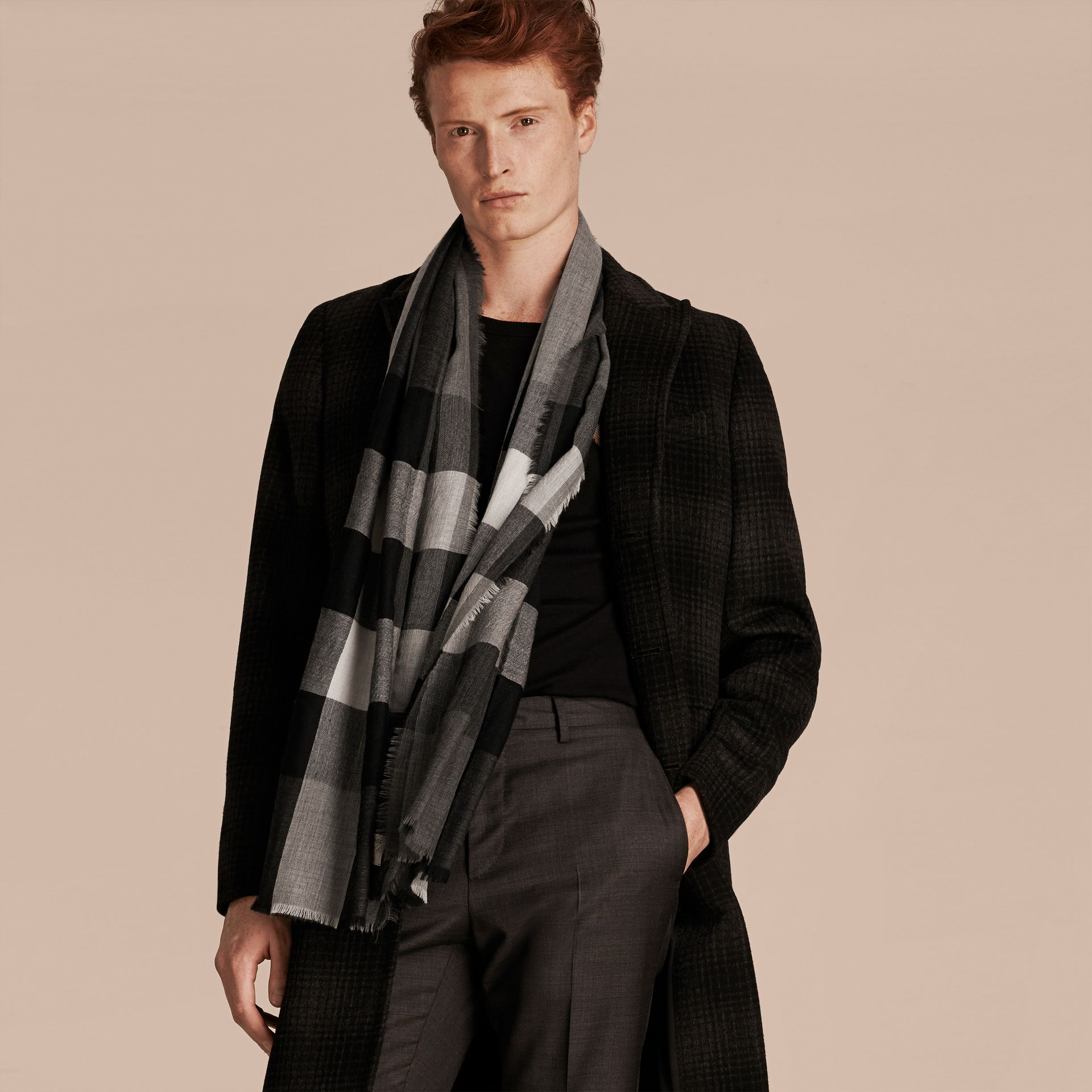 Mid grey The Lightweight Cashmere Scarf in Check Mid Grey - gallery image 4