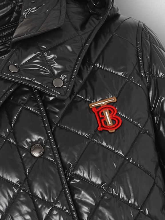 Detachable Hood Monogram Motif Quilted Coat in Black - Women | Burberry - cell image 1