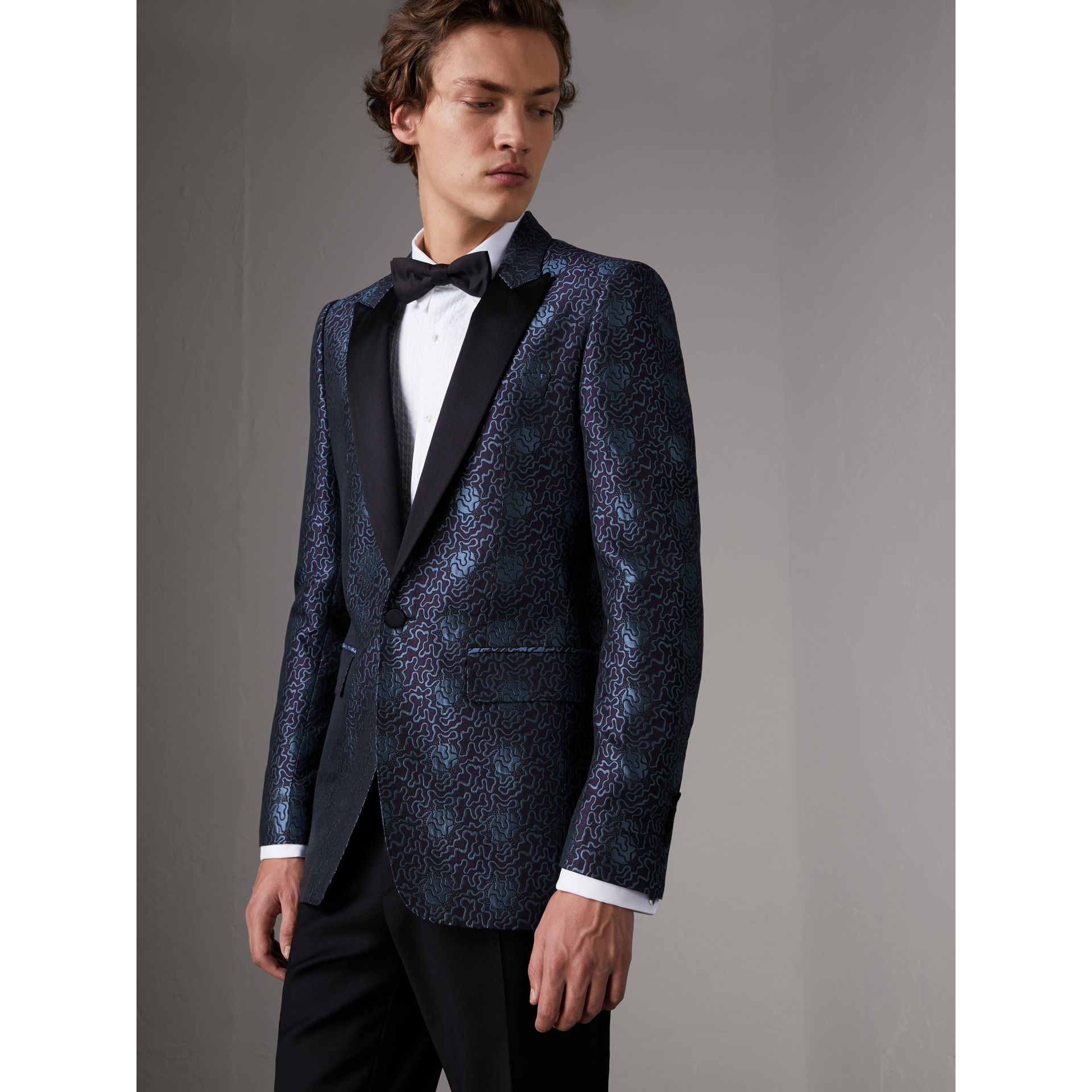 Slim Fit Swirl Silk Cotton Jacquard Evening Jacket in Steel Blue - Men | Burberry United Kingdom - gallery image 7