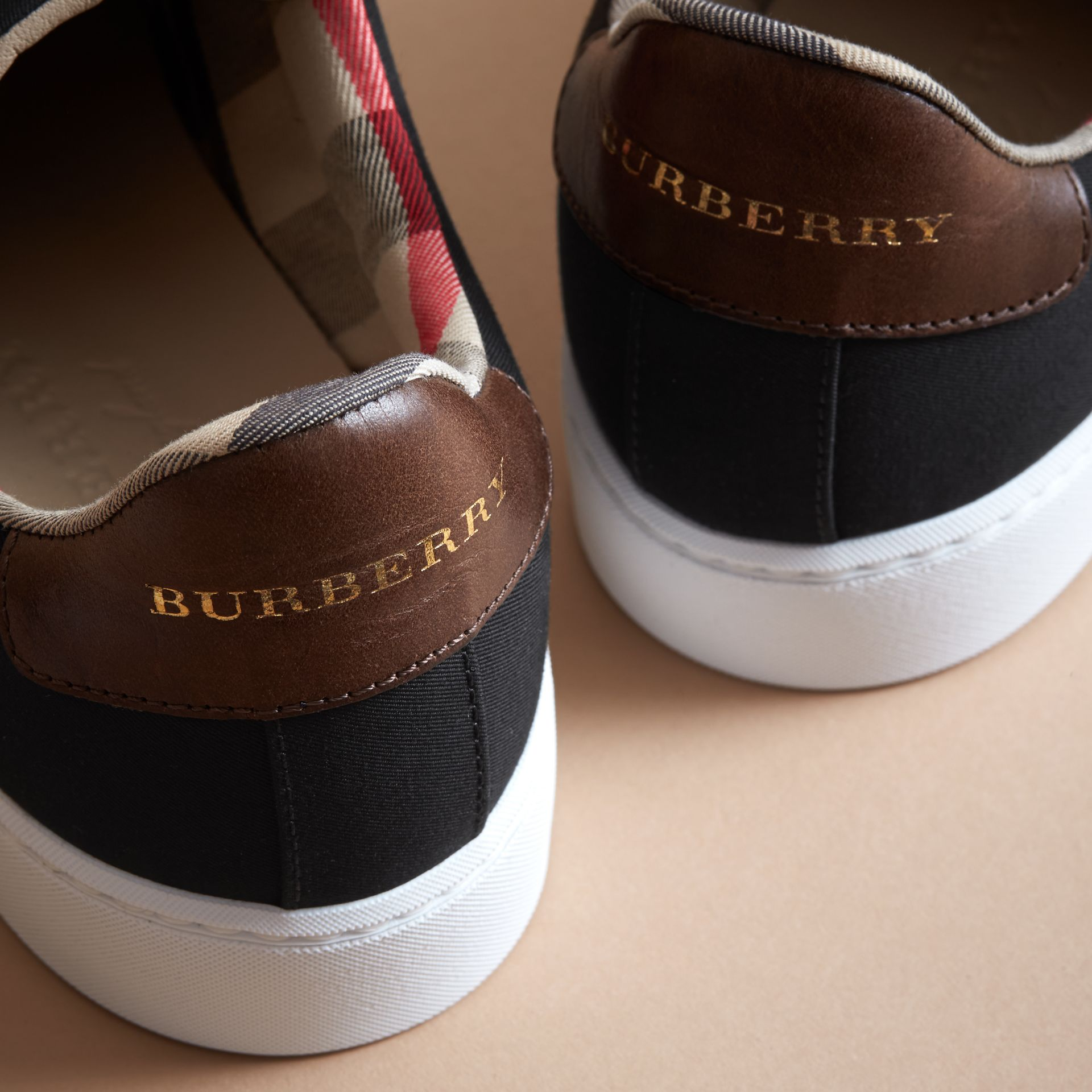 Trench Knot Cotton Gabardine Trainers in Black - Women | Burberry - gallery image 2
