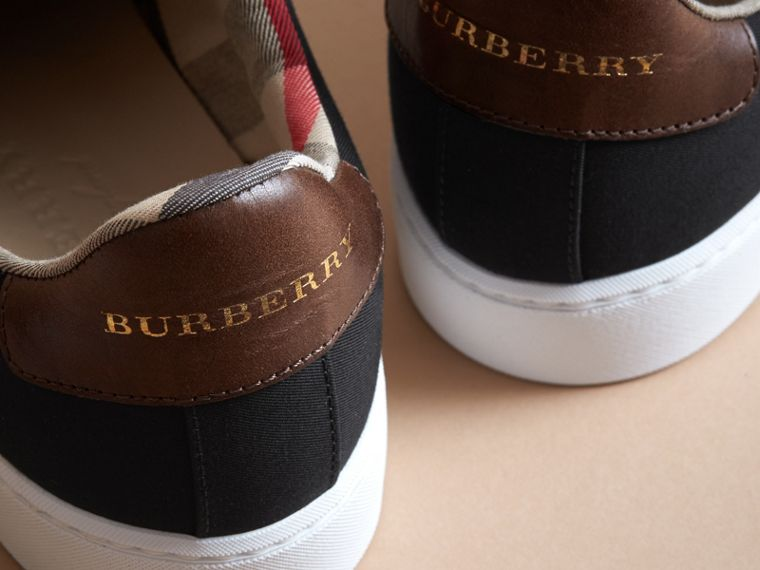 Trench Knot Cotton Gabardine Trainers in Black - Women | Burberry - cell image 1