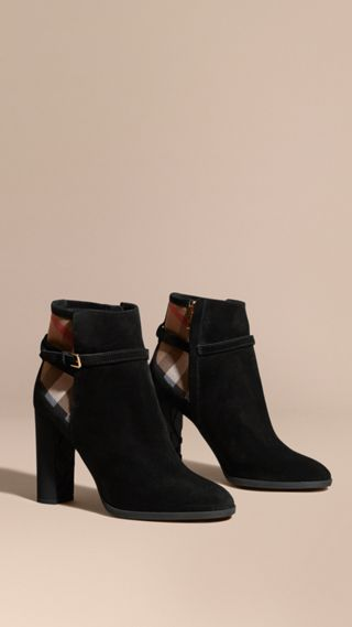 Bottines en cuir velours avec motif House check