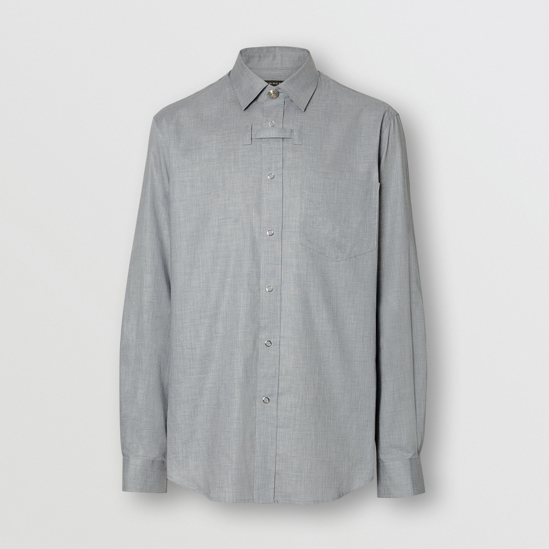 Monogram Button Cotton Shirt in Light Grey | Burberry - gallery image 2