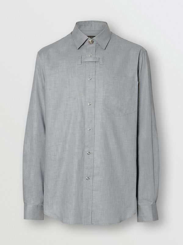 Monogram Button Cotton Shirt in Light Grey | Burberry - cell image 2