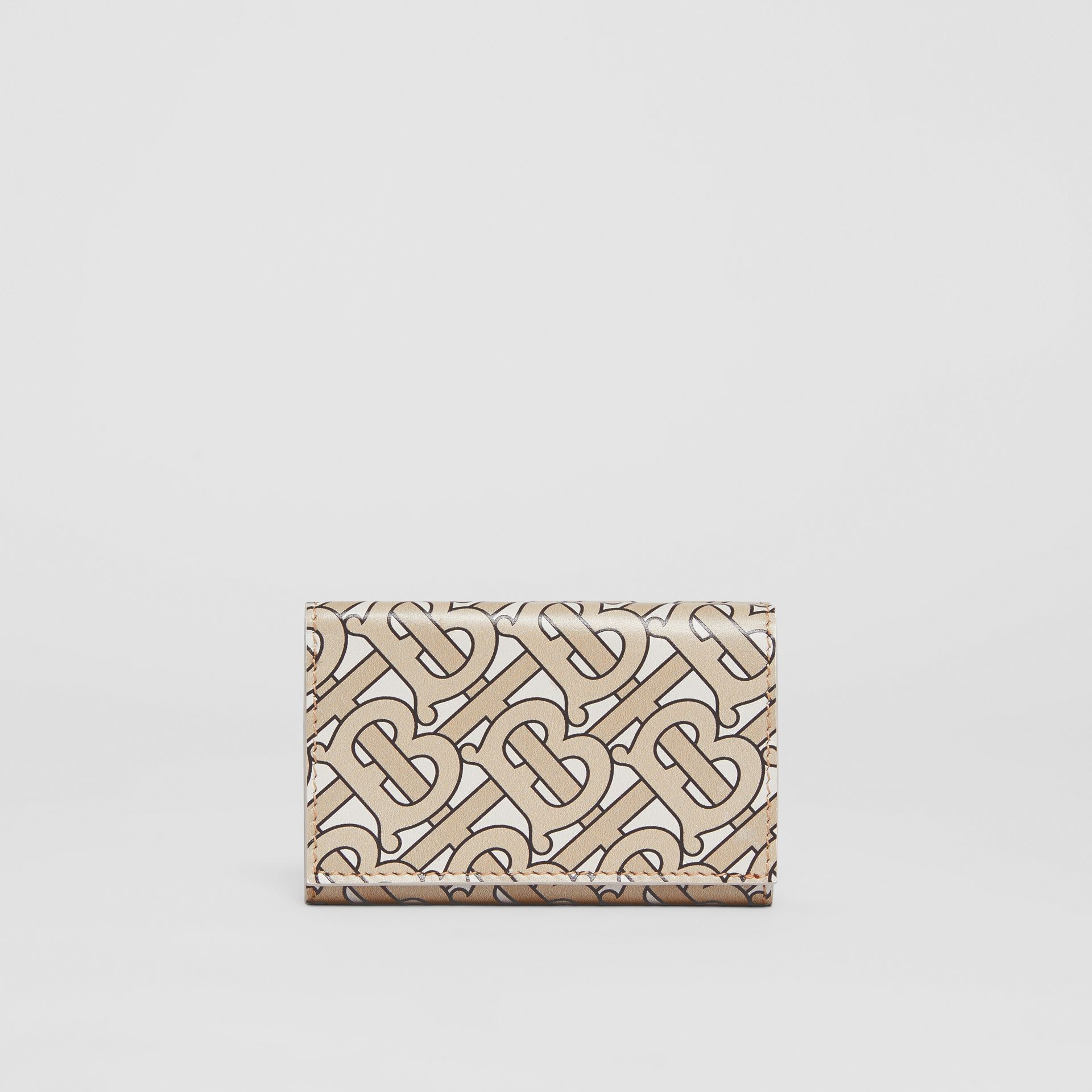 Small Monogram Print Leather Folding Wallet in Beige - Women | Burberry - gallery image 5