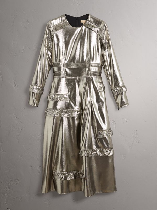 Long-sleeve Ruffle Detail Lamé Dress in Silver - Women | Burberry United Kingdom - cell image 3