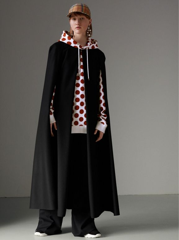 Long Doeskin Wool Cape in Black - Women | Burberry United Kingdom - cell image 1