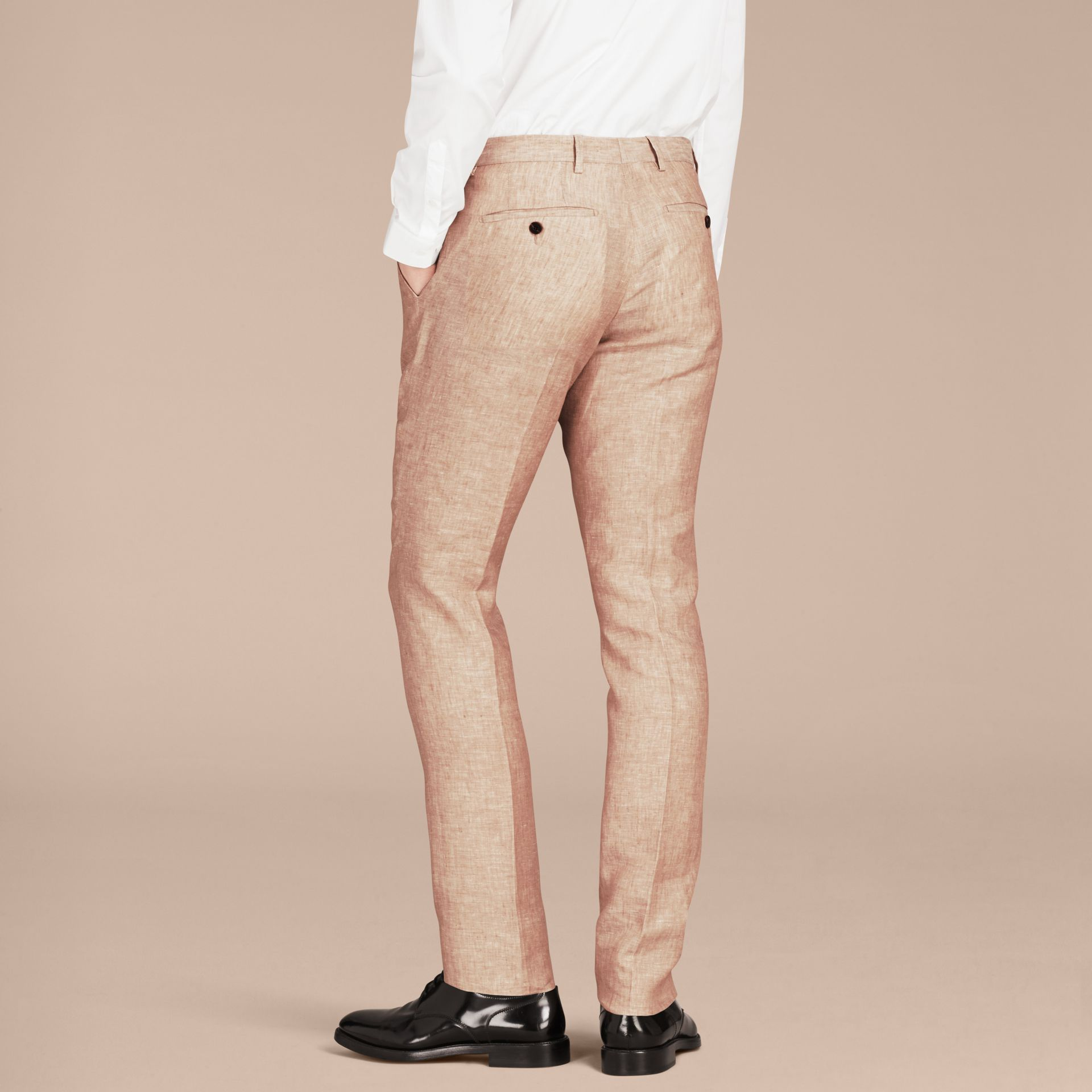 Pale stone Modern Fit Linen Trousers - gallery image 3