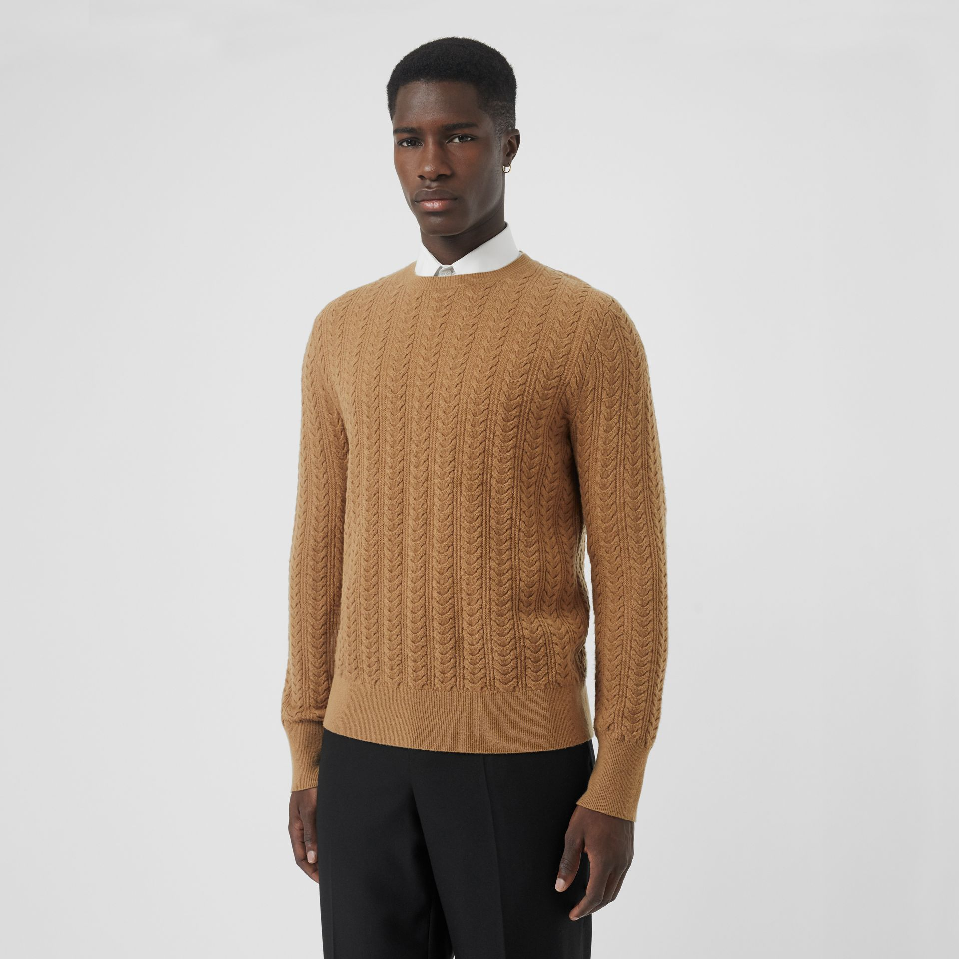 Cable Knit Cashmere Sweater in Camel - Men | Burberry - gallery image 0
