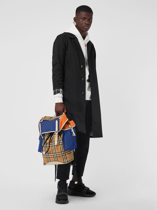 Colour Block Vintage Check and Leather Backpack in Cerulean Blue - Men | Burberry Australia - cell image 2
