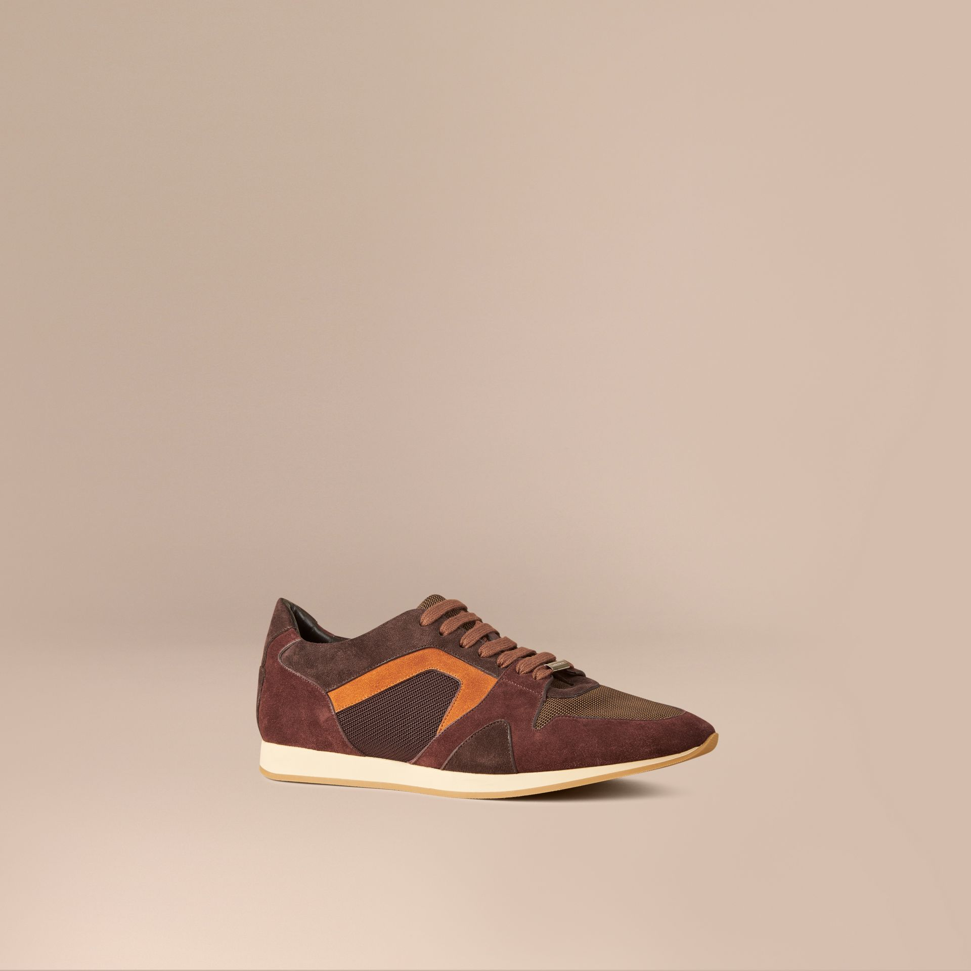 Russet brown The Field Sneaker in Colour Block Suede and Mesh Russet Brown - gallery image 1
